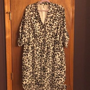 White Leopard Print Shirtdress